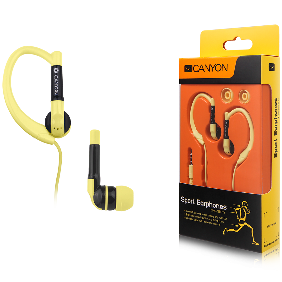 Multimedia - Headset CANYON CNS-SEP1Y Canyon sport earphones, over-ear fixation, inline microphone, yellow
