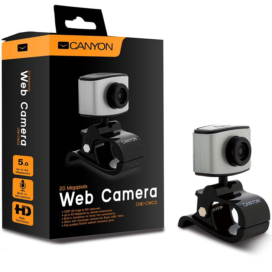 Web Camera CANYON CNE-CWC2 720P HD webcam with USB2.0. connector, 360° rotary view scope, 2.0Mega pixels