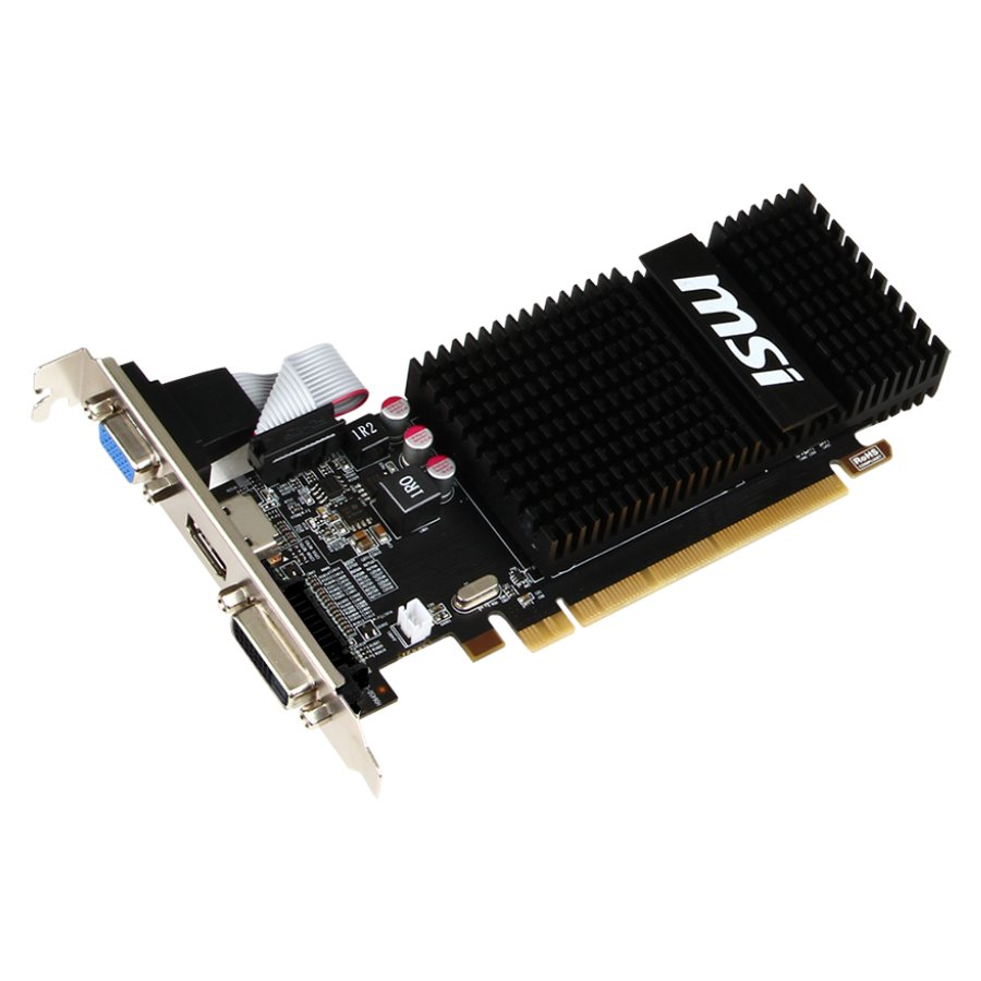 Video Card MSI R5_230_2GD3H_LP MSI Video Card AMD Radeon R5 230 GDDR3 2GB/64bit, 625MHz/1066MHz, PCI-E 2.1 x16, HDMI, DVI-D, VGA, Heatsink, Low-profile, Retail
