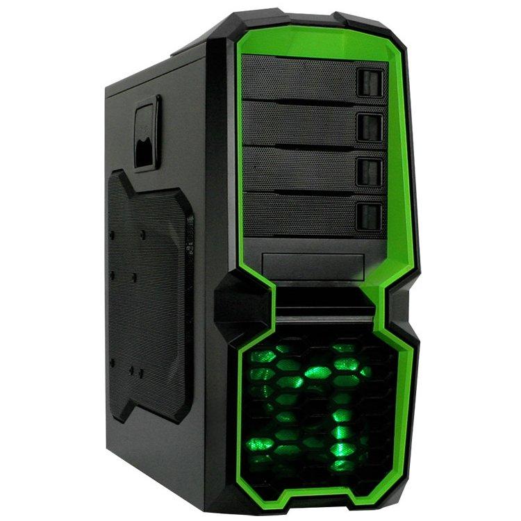 "PC Chassis RAIDMAX BLACKSTORM_615WG Chassis Blackstorm Green  Tower, ATX, 7 slots, 4 X 5.25"", 7 X 3.5"" H.D. or 3 X 2.5"" SSD, 2 x AUDIO / 2 x USB3.0, PSU Optional, 1 X 120mm LED fan /green/, 1 x 120mm Black frame with Black leaves fan, Black/Green"