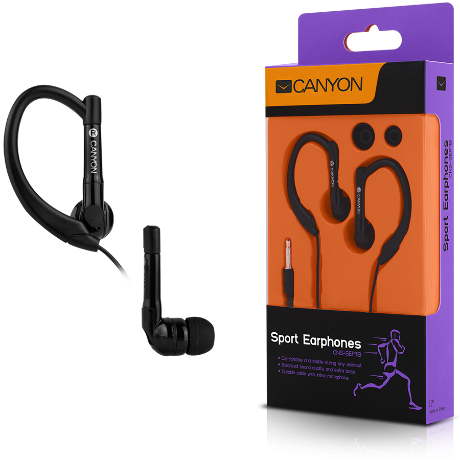 Multimedia - Headset CANYON CNS-SEP1B Canyon sport earphones, over-ear fixation, inline microphone, black