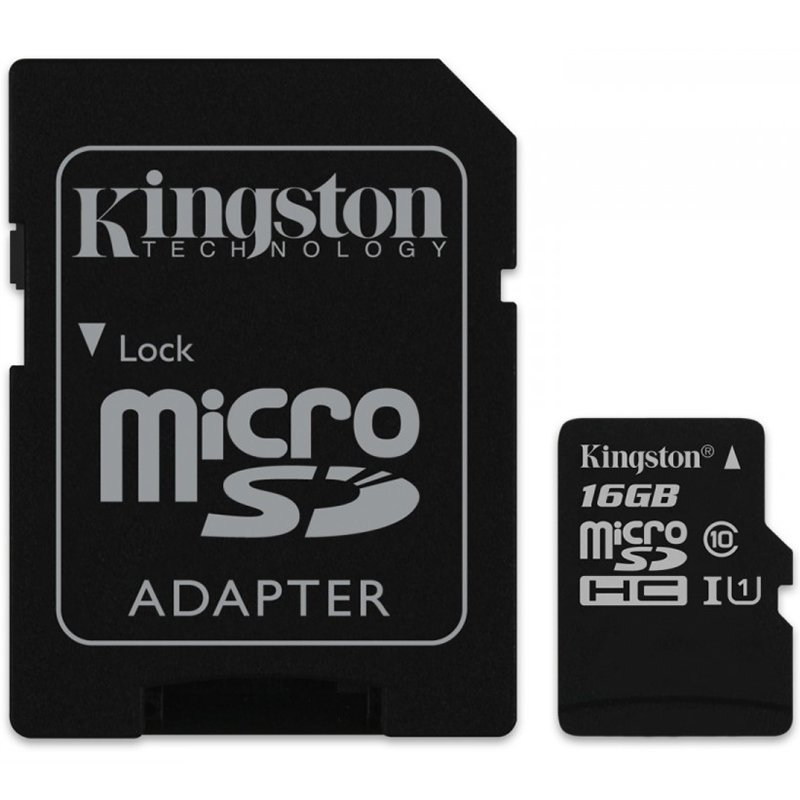 Memory ( flash cards ) KINGSTON SDC10G2/16GB Kingston  16GB microSDHC Class 10 UHS-I 45MB/s Read Card + SD Adapter, EAN: '740617245974