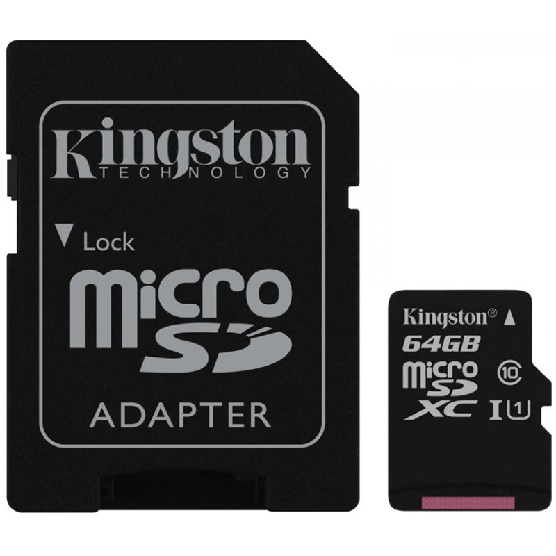 Memory ( flash cards ) KINGSTON SDC10G2/64GB Kingston  64GB microSDXC Class 10 UHS-I 45MB/s Read Card + SD Adapter, EAN: '740617246155