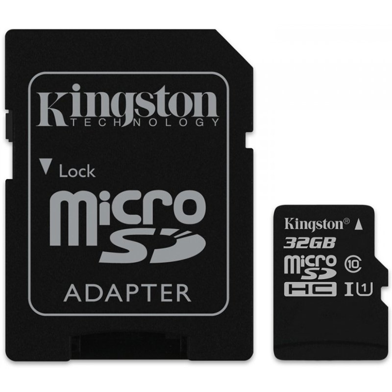 Memory ( flash cards ) KINGSTON SDC10G2/32GB Kingston  32GB microSDHC Class 10 UHS-I 45MB/s Read Card + SD Adapter, EAN: '740617246063