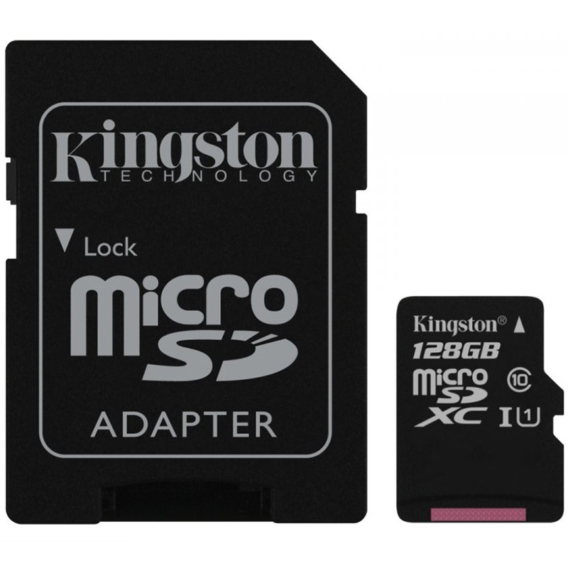 Memory ( flash cards ) KINGSTON SDC10G2/128GB Kingston  128GB microSDXC Class 10 UHS-I 45MB/s Read Card + SD Adapter, EAN: '740617246247
