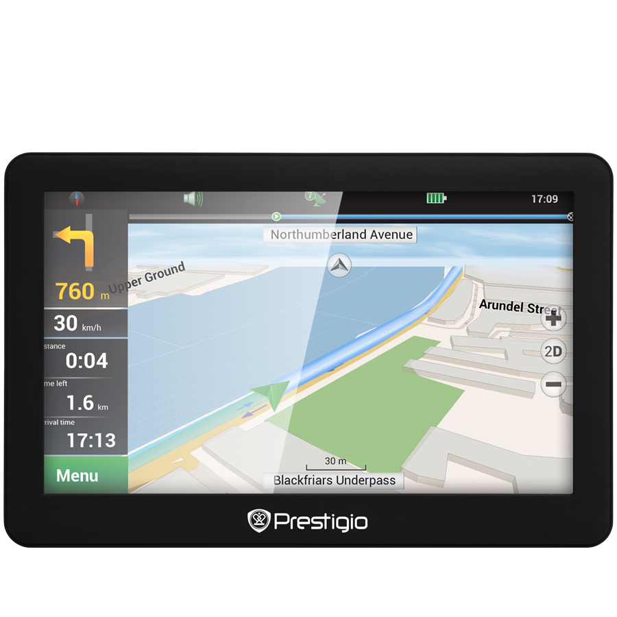 "GPS Navigator PRESTIGIO PGPS5056EU20GBNV Prestigio GeoVision 5056 (5.0"", TFT, 480х272, Win CE 6.0, CPU MSTAR 2531A 800 MHz, 128 MB RAM, 4 GB internal, 16 GB microSD card, FM, 950 mAh, Black, Plastic, Navitel navigation software, preinstalled maps of Full"