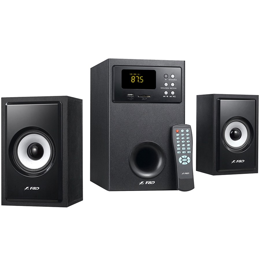 Multimedia - Speaker FENDA A555U Multimedia - Speaker F&D A555U (2.1 Channel Surround, 56W, 140Hz-20kHz, Subwoofer: 30Hz-90Hz, USB/SD card reader, FM, remote control, Wooden, Black)