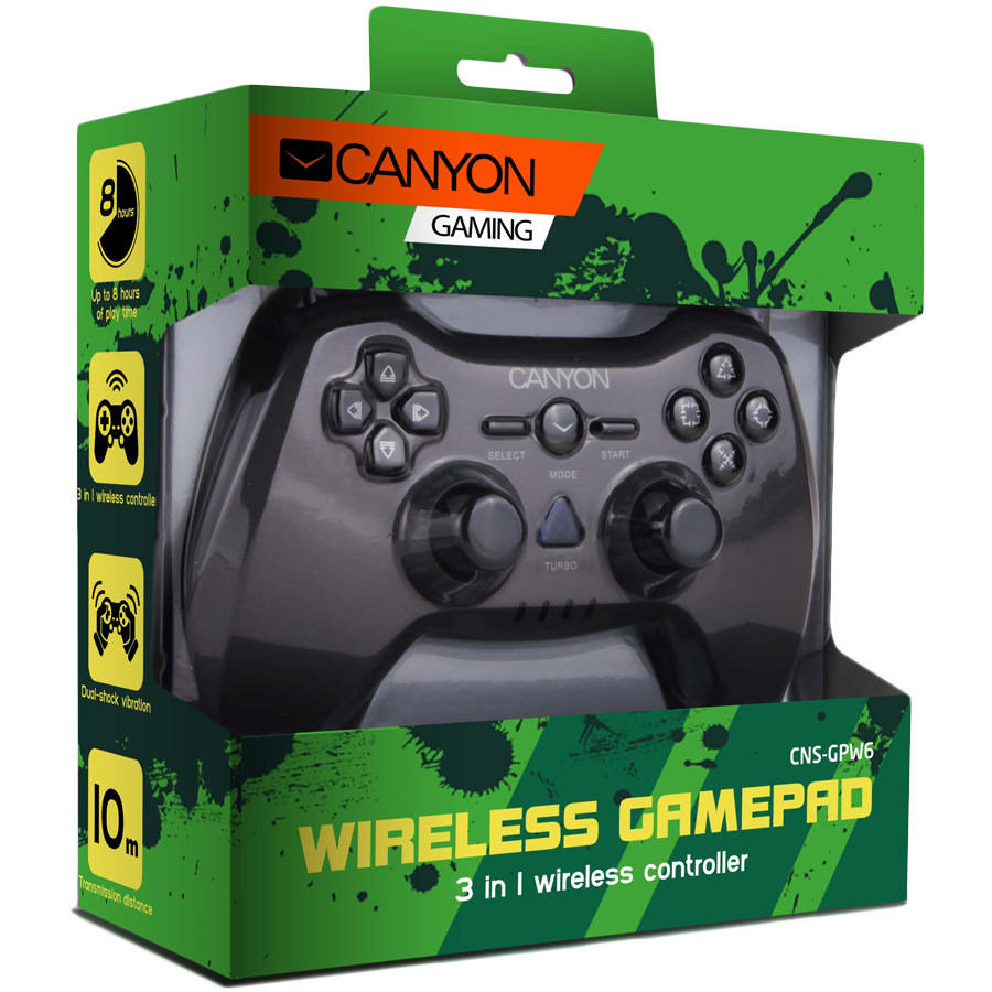 Gaming Accessories CANYON CNS-GPW6 3in1 wireless gamepad, up to 8 hours of play time, transmission distance up to 10m, rubberized finishing, dual-shock vibration (Compatible with PC, PS2, PS3)