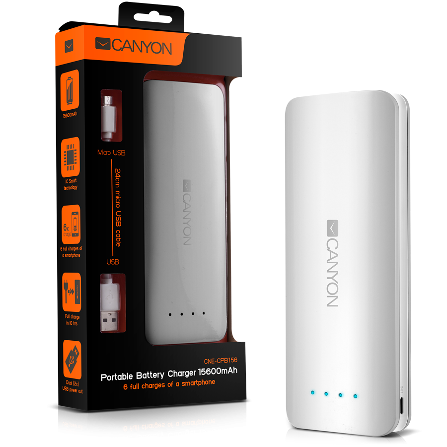 Power Bank CANYON CNE-CPB156W Canyon CNE-CPB156W Battery charger for portable device 15600 mAh (White)