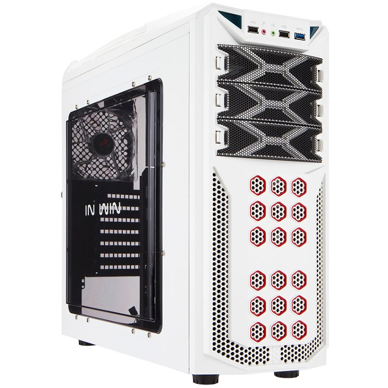 "PC Chassis IN WIN GT1.WHITE Chassis In Win GT1 Mid Tower ATX SECC Steel, EX 5.25""x3, 3.5""/2.5""x6(EZ-Swap x4),2.5""x2,Fan Speed Controller 3.5""/2.5"" SATA HDD EZ-Swap x1,USB 3.0x1,USB 2.0x2,HD Audio,PCI-E Slot x7,up to 120mm Fan x8, White"