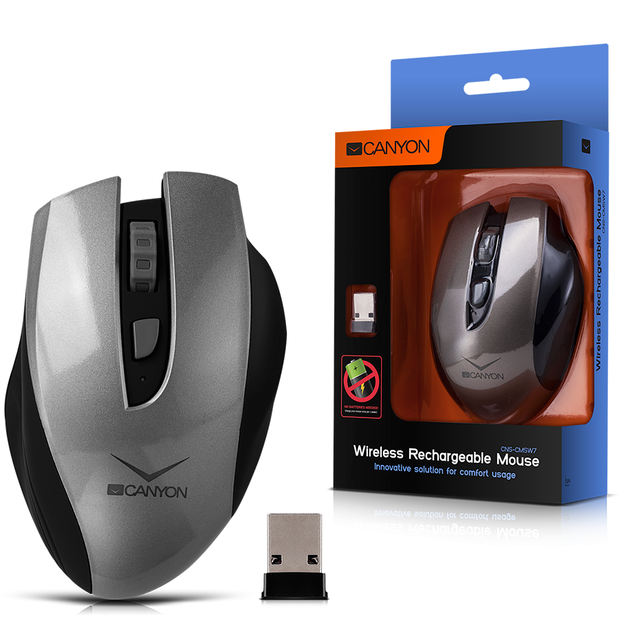 Input Devices - Mouse Box CANYON CNS-CMSW7G Wireless Rechargeable Mouse, innovative solution for comfort usage, requires no batteries, the ability to charge from the USB port and from the usual outlets, up to 14 days on a single charge, sensor resolution