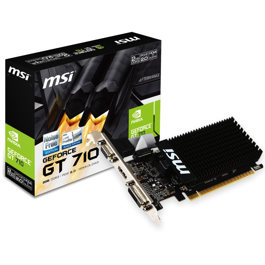 Video Card MSI GT710_2GD3H/LP MSI Video Card GeForce GT 710 GDDR3 2GB/64bit, PCI-E 2.0 x16, HDMI,DVI, VGA, Retail