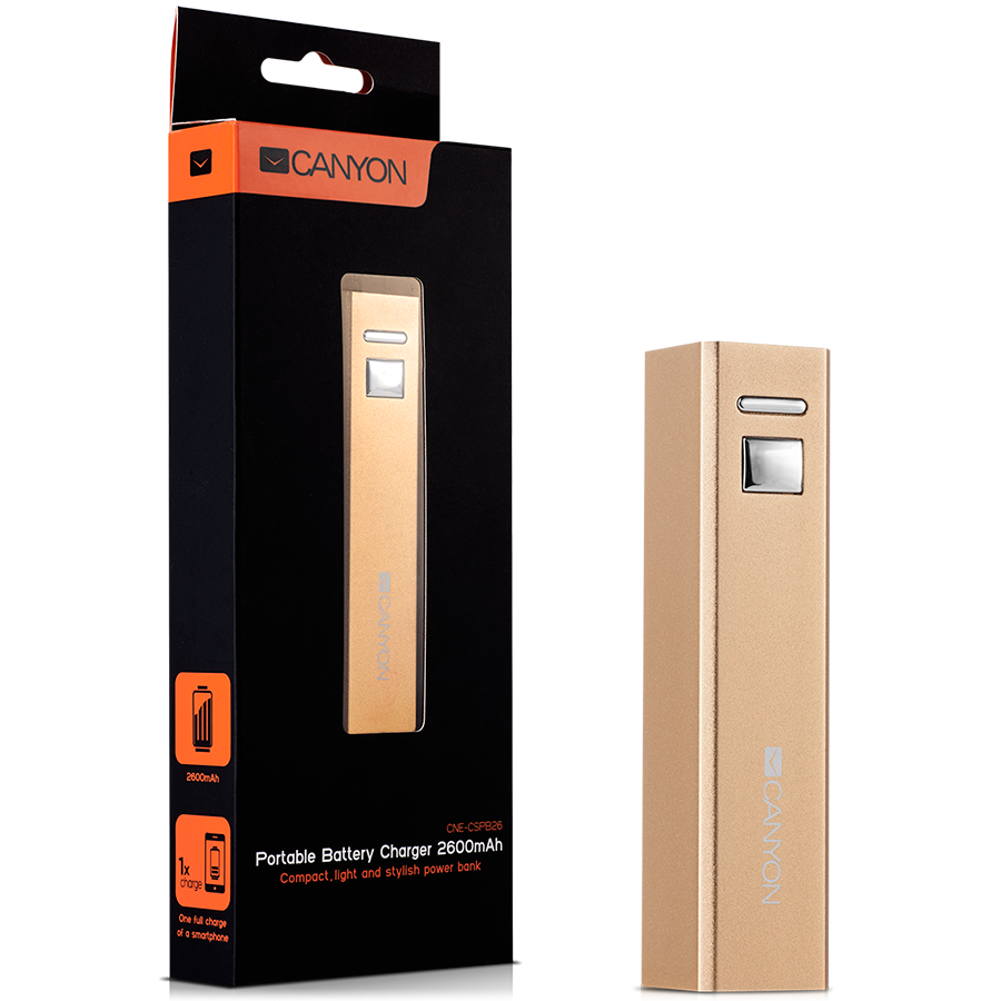 Power Bank CANYON CNE-CSPB26GO CANYON CNE-CSPB26GO Aluminium compact battery charger. Color: golden, Capacity: 2600mAh, Output: DC5V 1A, Input: DC5V 1A Output Charging: 1.5-2 hours, Input Charging: 2-3 hours. Cycle Life: 500 times