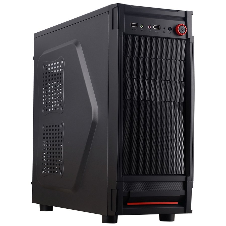 "PC Chassis TRENDSONIC FC-E02A Chassis E02A, ATX/ MICRO ATX, 7 slots, 2 X 5.25"", 4 X 3.5"" H.D., 2 X 2.5"" SSD, 2 X USB2.0 / 2 x AUDIO /, PSU Opt,1 X 120mm Front LED fan RED, 1 x 120mm Back Black FAN /opt/., 1 X 120mm Side LED fan /opt./, Black/RED"