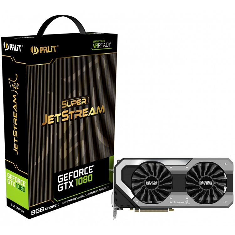 Video Card PALIT 4710636269035 VC Palit nVidia GTX1080 Super Jetstream 8GB GDDR5X ,256bit , Dual DVI,HDMI,DPx3 part# NEB1080S15P2J