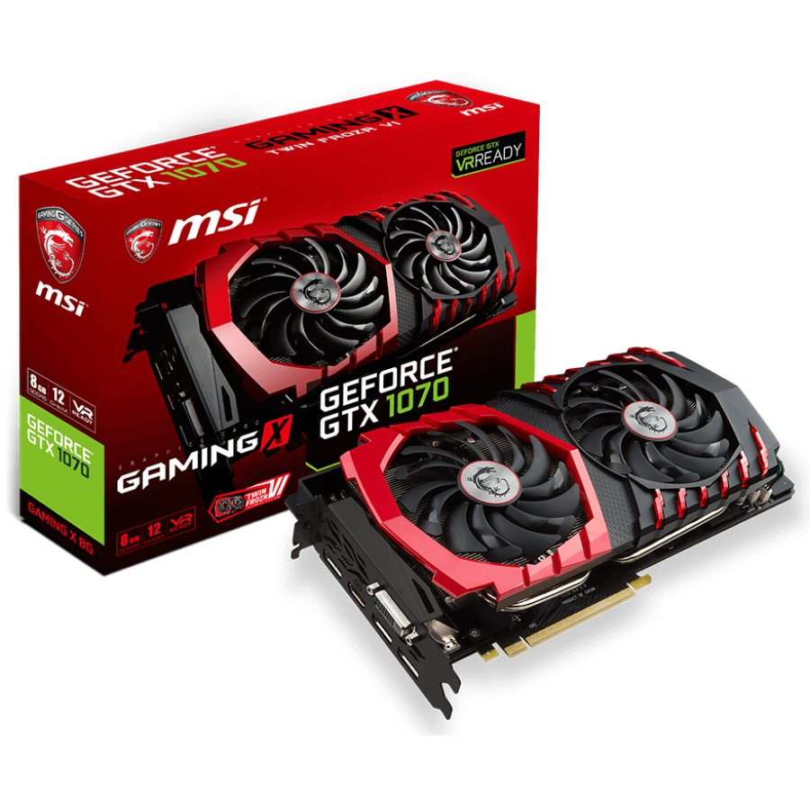 Video Card MSI GTX_1070_GAMINGX_8G MSI Video Card GeForce GTX 1070 Gaming X GDDR5X 8GB/256bit, PCI-E 3.0 x16,3DP, HDMI, DVI-D, Retail