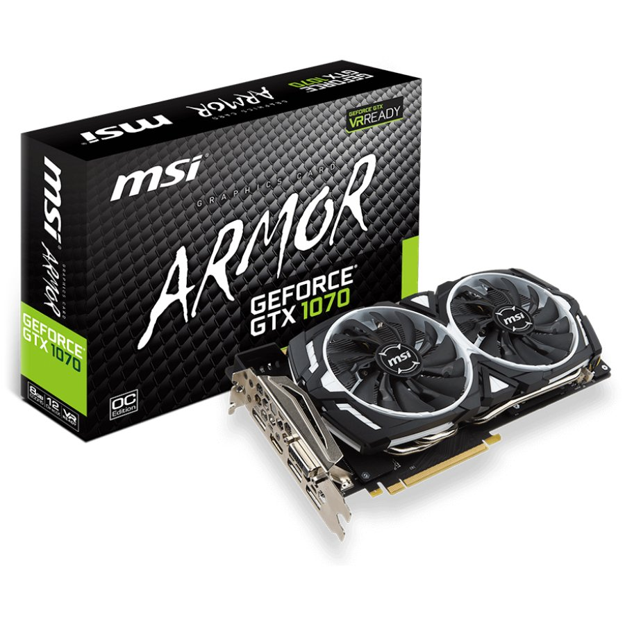 Video Card MSI GTX_1070_ARMOR_8G_OC MSI Video Card GeForce GTX 1070 GDDR5 8GB/256bit, 1556MHz/8008MHz, PCI-E 3.0 x16, 3xDP, HDMI, DVI-D, ARMOR 2X Cooler(Double Slot), Retail