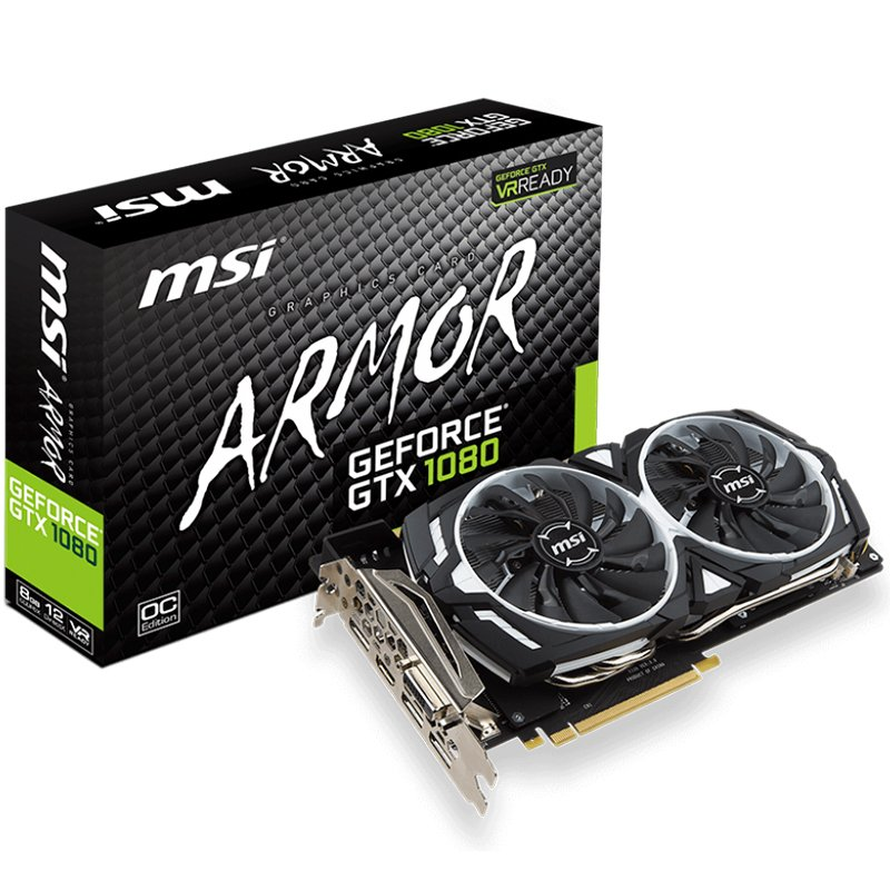 Video Card MSI GTX_1080_ARMOR_8G_OC MSI Video Card GeForce GTX 1080 GDDR5X 8GB/256bit, 1657MHz/10010MHz, PCI-E 3.0 x16, 3xDP, HDMI, DVI-D, ARMOR 2X Cooler(Double Slot), Retail
