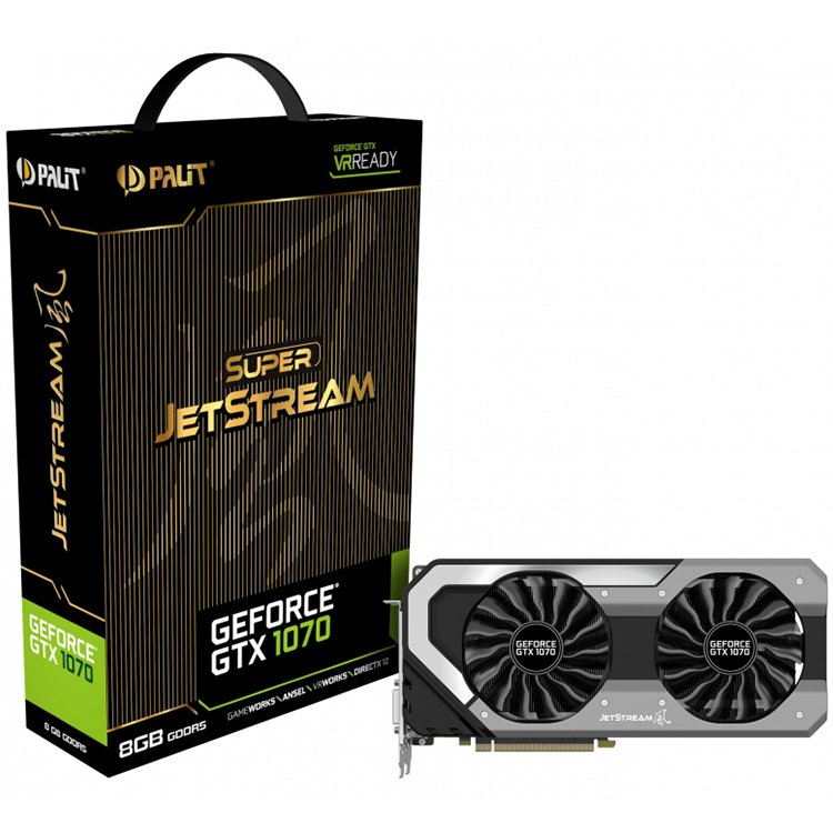 Video Card PALIT 4710636269073 VC Palit nVidia GTX1070 Super JetStream 8GB GDDR5, 256bit, Dual DVI, HDMI, DP part# NE51070S15P2J