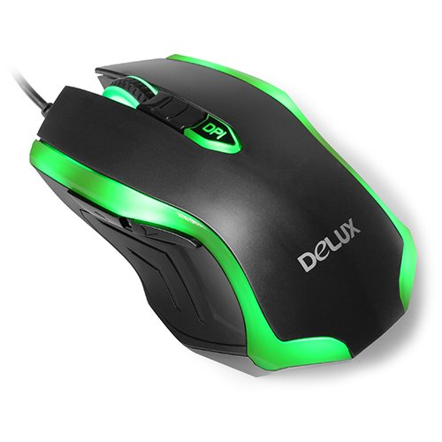 Input Devices - Mouse Box DELUX DLM-M556BU_BLACK_GREEN Input Devices - Mouse DELUX DLM-M556BU 5D Gaming 2400 dpi ,USB, Black/Green
