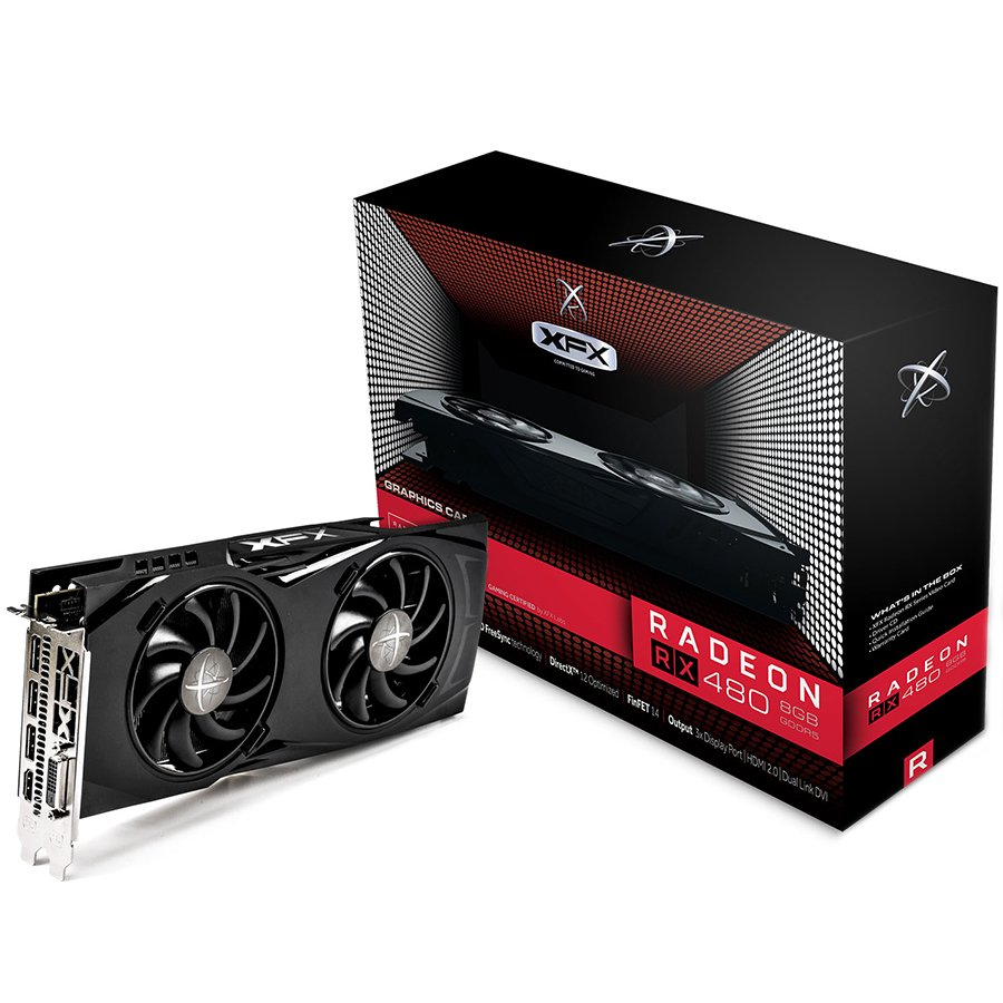Video Card XFX RX-480P8DFA6 XFX Video Card AMD Radeon RX 480 GTR GDDR5 8GB/256bit, 1288MHz/8000MHz, PCI-E 3.0 x16, HDMI, DVI, 3xDP, DD 2X cooler LED(Double Slot), Backplate, 3+2 Warranty, Retail