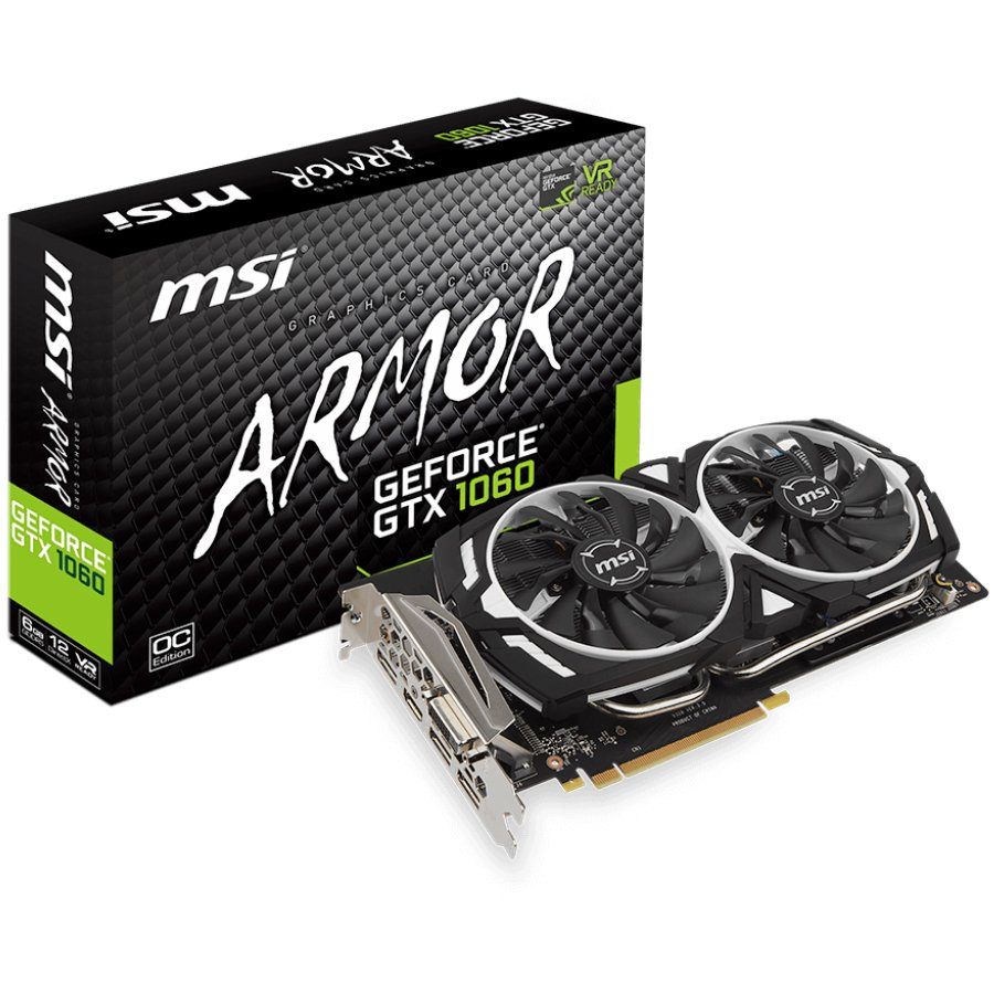 Video Card MSI GEFORCE_GTX1060_ARMOR_6G_OC_V1 MSI Video Card GeForce GTX 1060 ARMOR OC  GDDR5 6GB/192bit, PCI-E 3.0 x16,3DP, HDMI, DVI-D, Retail
