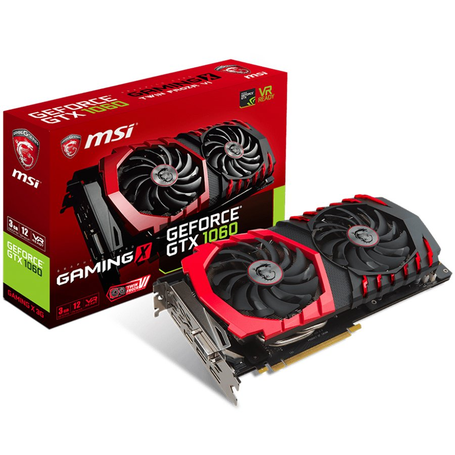 Video Card MSI GEFORCE_GTX1060_GAMINGX_3G MSI Video Card GeForce GTX 1060 Gaming X GDDR5 3GB/192bit, PCI-E 3.0 x16,3DP, HDMI, DVI-D, Retail