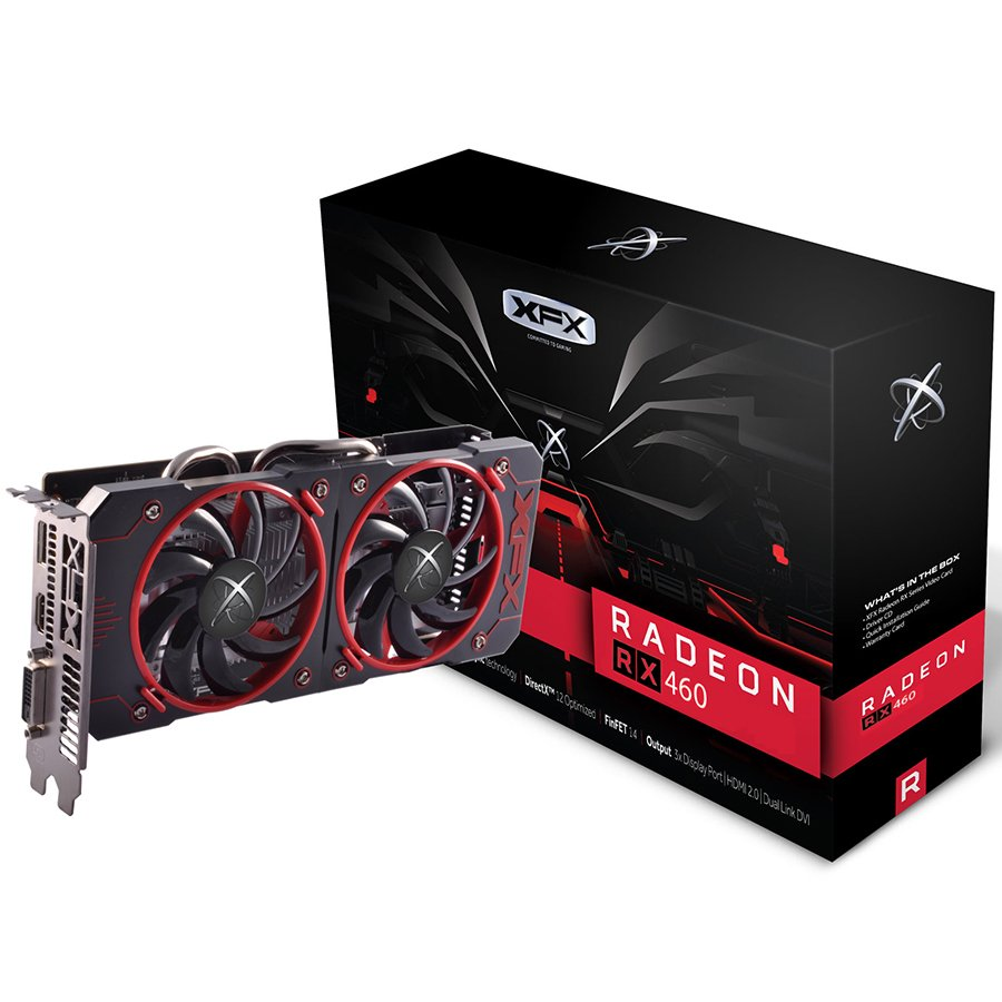 Video Card XFX RX-460P2DFG5 XFX Video Card AMD Radeon RX 460 GDDR5 2GB/128bit, 1220MHz/7000MHz, PCI-E 3.0 x16, HDMI, DVI-D, DP, DD 2X cooler (Double Slot), Retail