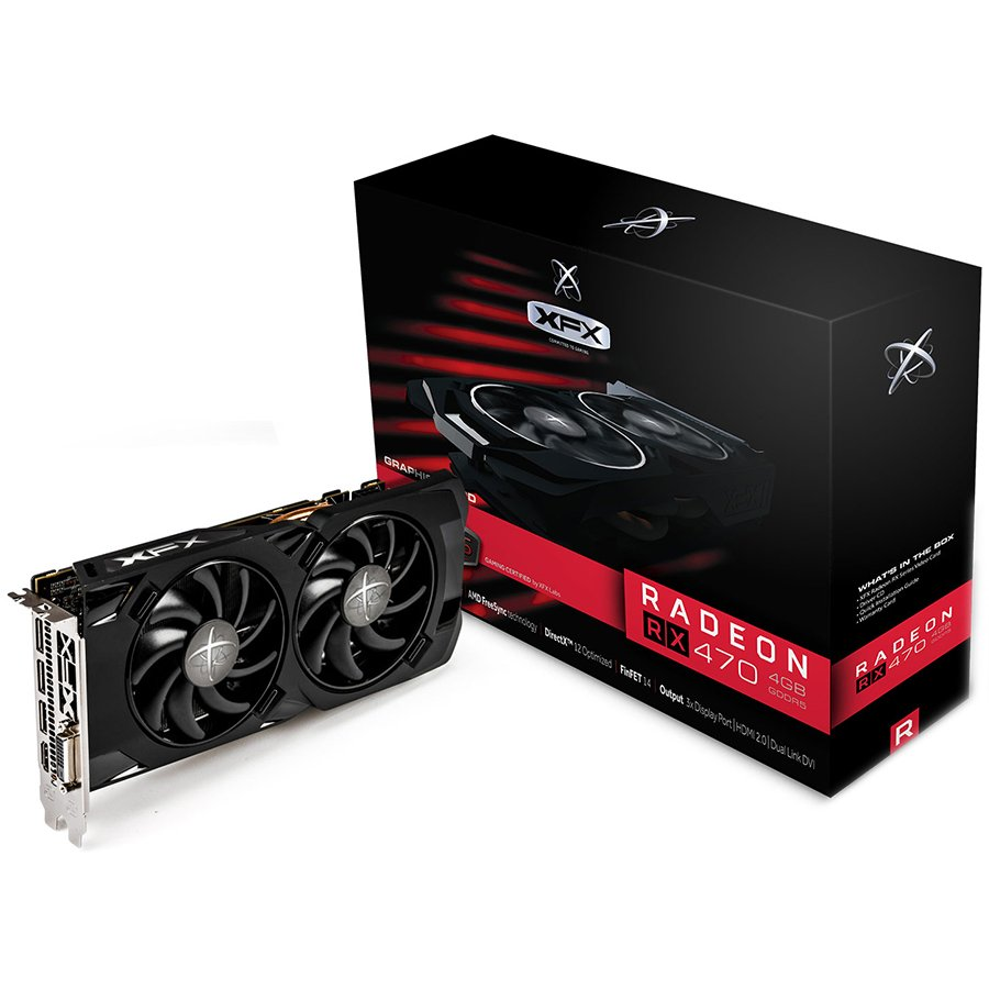 Video Card XFX RX-470P4LDB6 XFX Video Card AMD Radeon RX 470 RS GDDR5 4GB/256bit, 1256MHz/7000MHz, PCI-E 3.0 x16, HDMI, DVI, 3xDP, DD 2X cooler LED (Double Slot), Backplate , Retail