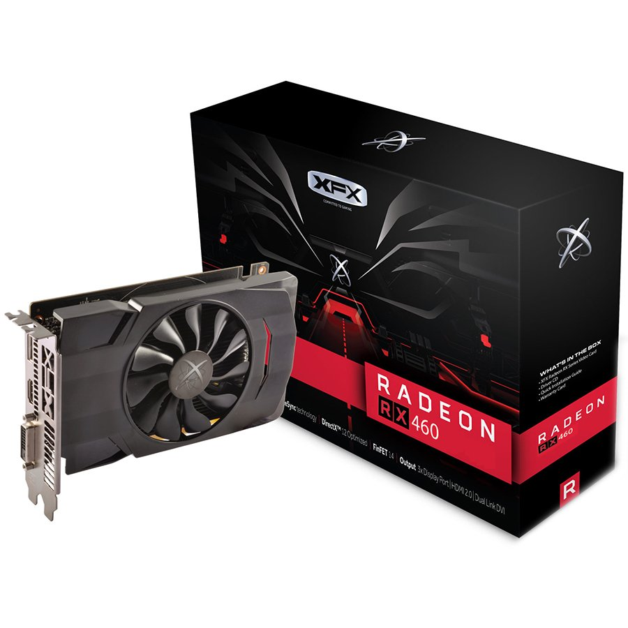 Video Card XFX RX-460P4SFG5 XFX Video Card AMD Radeon RX 460 GDDR5 4GB/128bit, 1220MHz/7000MHz, PCI-E 3.0 x16, HDMI, DVI-D, DP, VGA cooler (Double Slot), Retail