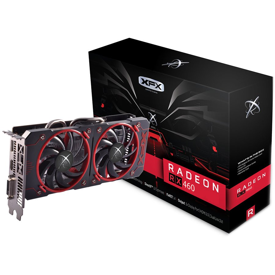 Video Card XFX RX-460P4DFG5 XFX Video Card AMD Radeon RX 460 GDDR5 4GB/128bit, 1220MHz/7000MHz, PCI-E 3.0 x16, HDMI, DVI-D, DP, DD 2X cooler (Double Slot), Retail