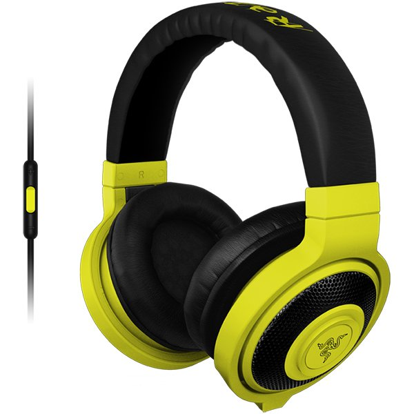Multimedia - Headset RAZER RZ04-01400200-R3M1 Razer Kraken Mobile Neon YELLOW - Mobile Analog Music & Gaming Headphones,Drivers: 40 mm, with neodymium magnets,Inner ear cup diameter: 50 mm / 0.16 ft,Connector: Analog 3.5 mm headphone jack,Cable length: 1.