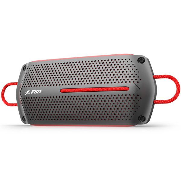 "Multimedia - Speaker FENDA W12 Multimedia Bluetooth Speakers F&D W12 - Power output 4W+4W, 1.75"" inch driver, Bluetooth 4.0, 360 degree sound field, micro SD card, 3.5mm Aux input, Li-ion battery 1500mA, Anti-water design, Red/Grey"