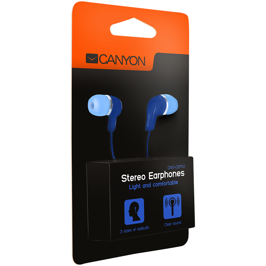 Multimedia - Headset CANYON CNS-CEPM02BL Stereo Earphones with inline microphone, Blue