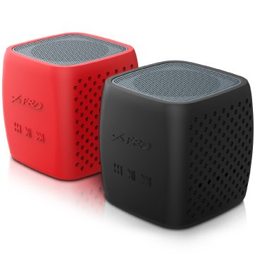 "Multimedia - Speaker FENDA W4 Multimedia Bluetooth Speakers F&D W4 - Power output 3W, 1.5"" inch driver and passive radiator, Bluetooth 4.0, 360 degree sound field, changable colorful cover, (micro SD card, 3.5mm Aux input, Li-ion battery 1000mA, Red/Black"