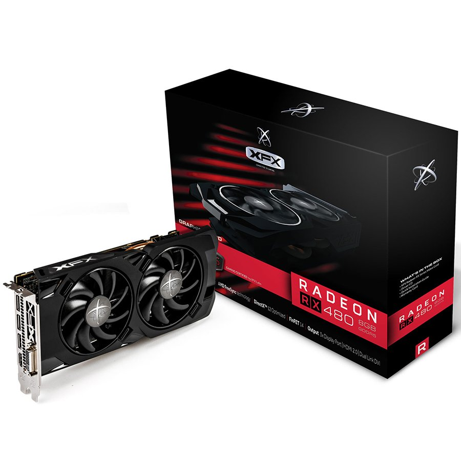 Video Card XFX RX-480P4LFB6 XFX Video Card AMD Radeon RX 480 RS GDDR5 4GB/256bit, 1266MHz/7000MHz, PCI-E 3.0 x16, HDMI, DVI, 3xDP, DD 2X cooler (Double Slot), Backplate, Retail