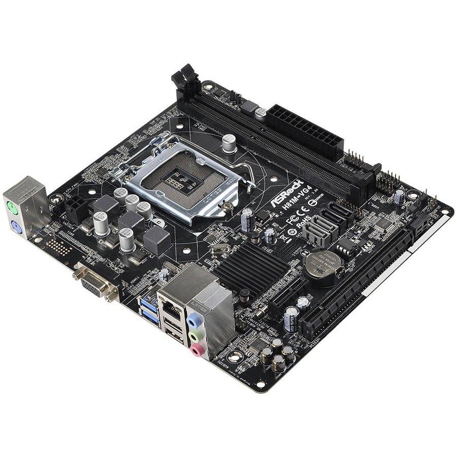 Main Board Desktop ASROCK H81M-VG4_R3.0_3Y ASROCK Main Board Desktop iH81 (S1150, 2xDDR3 1600,1xPCI-E2.0x16,1xPCI-E2.0x1 2xUSB3.0,SATA III,GLAN,5.1ch,) mATX Retail