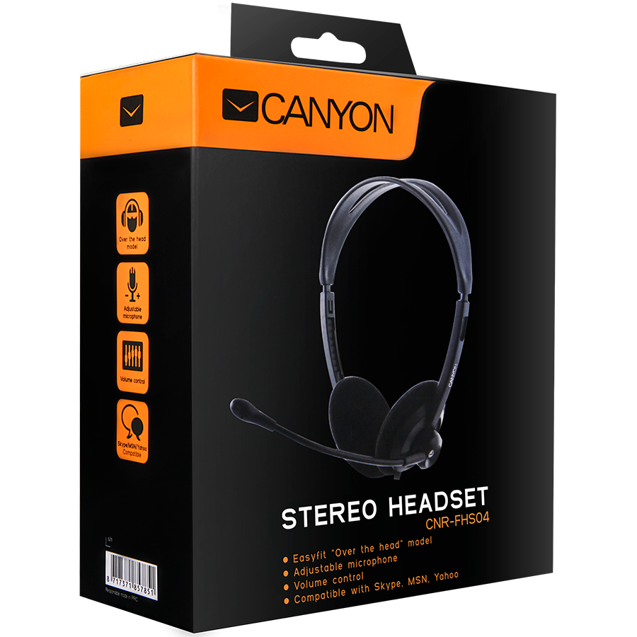 Multimedia - Headset CANYON CNR-FHS04 Canyon Headset ; color: black; Impedance: 32 Ohm;  Frequency Response: 20Hz-20kHz ; Sensitivity: 108 dB ; cable length: 2.3m ; stereo 3.5mm plug