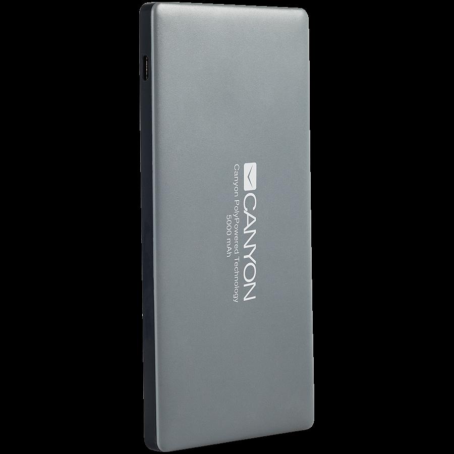 Power Bank CANYON CNS-TPBP5DG Power bank 5000mAh (Color: Dark Gray), bulit-in Lithium Polymer Battery