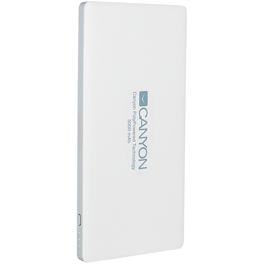 Power Bank CANYON CNS-TPBP5W Power bank 5000mAh (Color: White), bulit in Lithium Polymer Battery