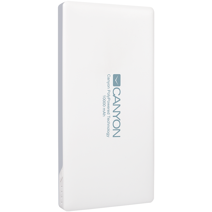 Power Bank CANYON CNS-TPBP10W Power bank 10000mAh (Color: White), bulit in Lithium Polymer Battery