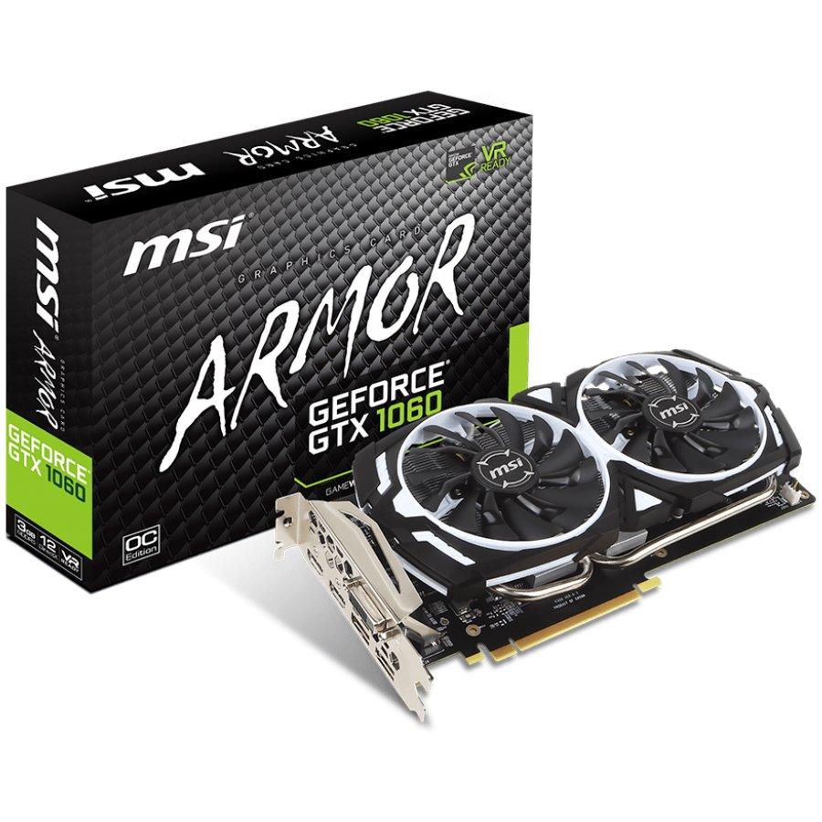 Video Card MSI GTX_1060_ARMOR_3G_OCV1 MSI Video Card GeForce GTX 1060 GDDR5 3GB/192bit, 1544MHz/8008MHz, PCI-E 3.0 x16, 2xDP, 2xHDMI, DVI-D, ARMOR 2X Cooler(Double Slot), Retail