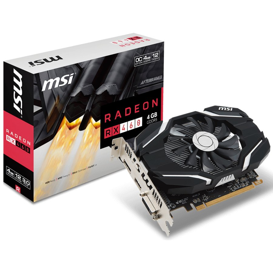 Video Card MSI RX_460_4G_OC MSI Video Card AMD Radeon RX 460 OC GDDR5 4GB/128bit, 1210MHz/7000MHz, PCI-E 3.0 x16, DP, HDMI, DVI-D, Sleeve Fan Cooler(Double Slot) Retail