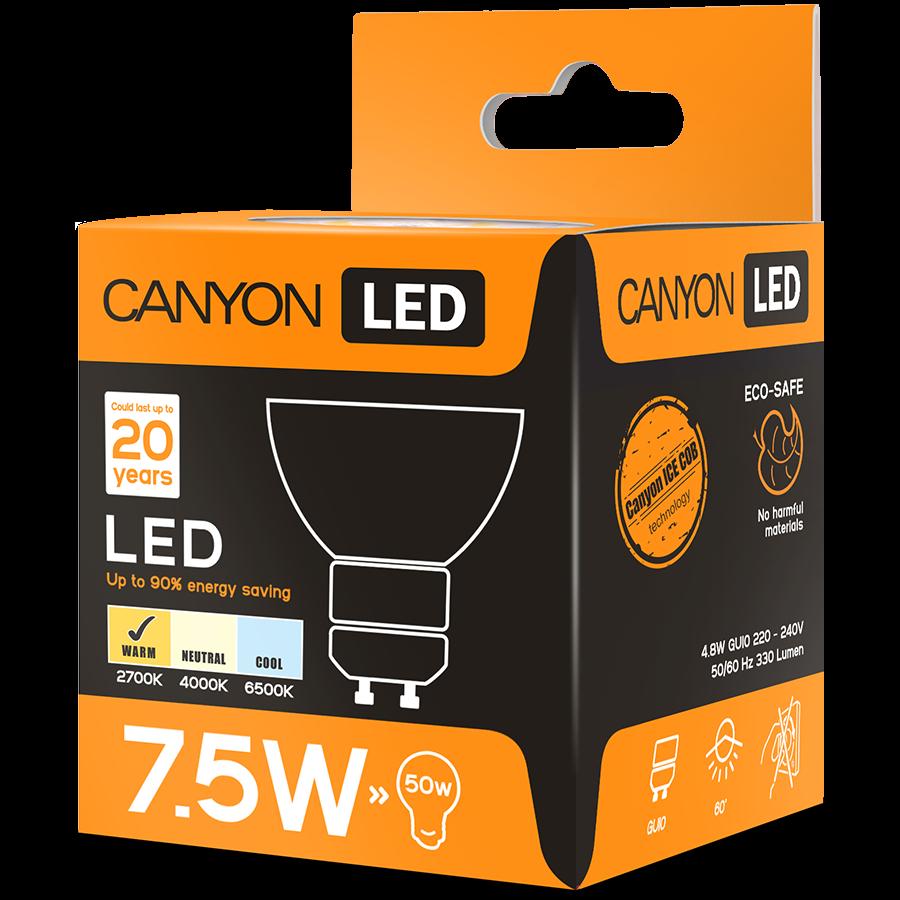 LED Lighting CANYON MRGU10/8W230VW60 CANYON MRGU10/8W230VW60 LED lamp, MR shape, GU10, 7.5W, 220-240V, 60°, 540 lm, 2700K, Ra>80, 50000 h