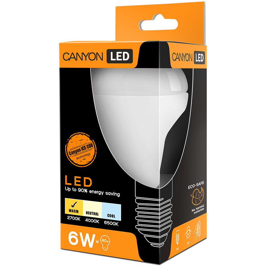 LED Lighting CANYON R50E14FR6W230VW CANYON R50E14FR6W230VW LED lamp, R50 shape, E14, 6W, 220-240V, 120°, 470 lm, 2700K, Ra>80, 50000 h