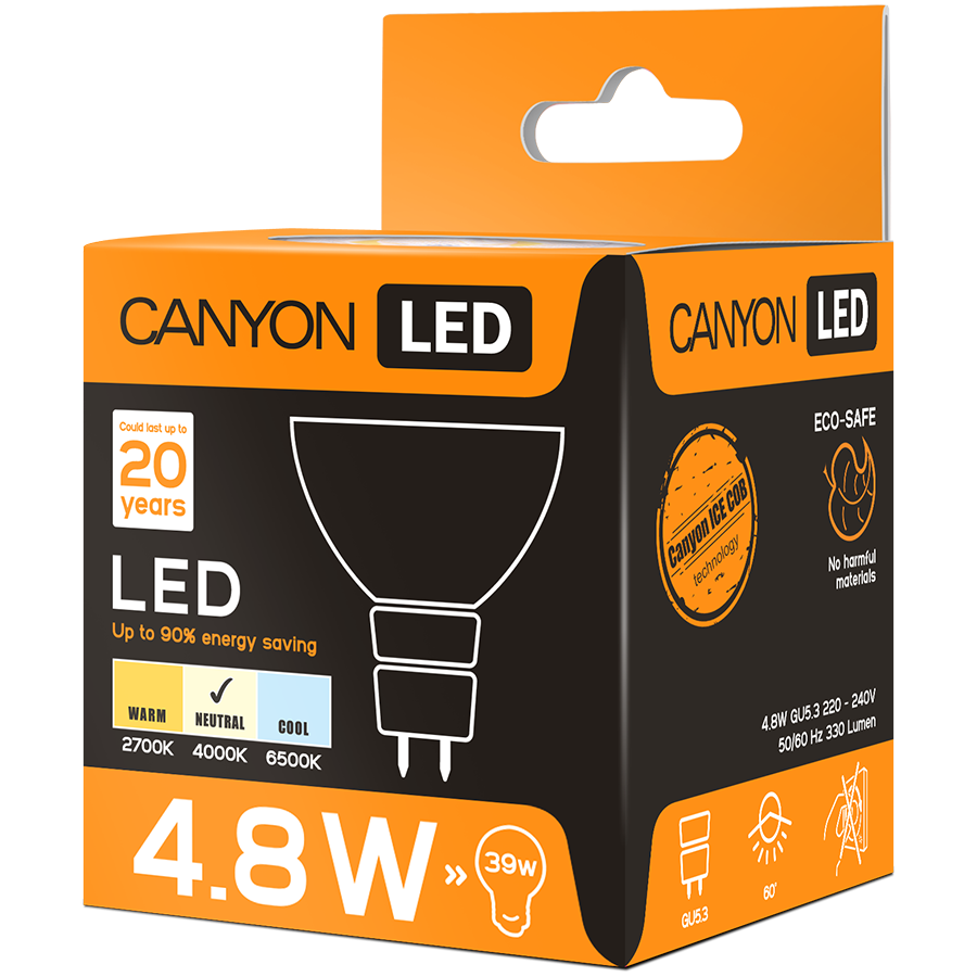 LED Lighting CANYON MRGU53/5W230VN60 CANYON MRGU53/5W230VN60 LED lamp, MR shape, GU5.3, 4.8W, 220-240V, 60°, 330 lm, 4000K, Ra>80, 50000 h
