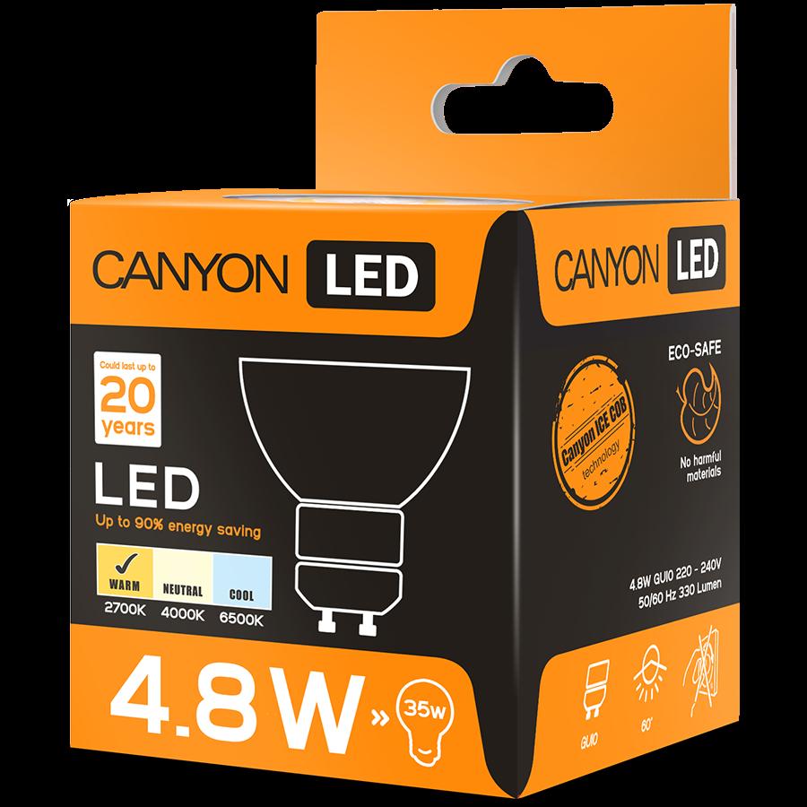 LED Lighting CANYON MRGU10/5W230VW60 CANYON MRGU10/5W230VW60 LED lamp, MR shape, GU10, 4.8W, 220-240V, 60°, 300 lm, 2700K, Ra>80, 50000 h