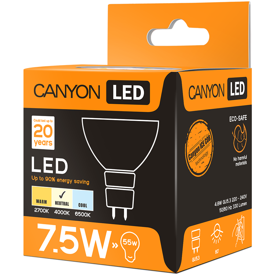 LED Lighting CANYON MRGU53/8W230VN60 CANYON MRGU53/8W230VN60 LED lamp, MR shape, GU5.3, 7.5W, 220-240V, 60°, 594 lm, 4000K, Ra>80, 50000 h