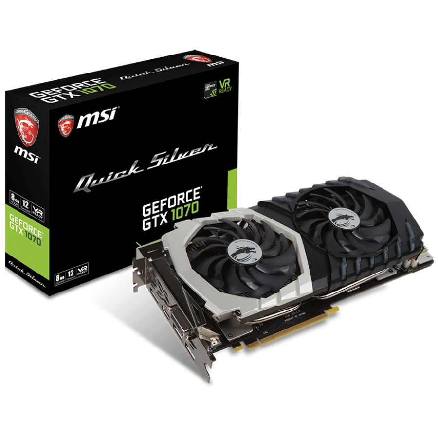 Video Card MSI GTX1070_QUICK_SIVER MSI Video Card GeForce GTX 1070 Quick Silver GDDR5 8GB/256bit, PCI-E 3.0 x16, 3xDP, HDMI, DVI-D, Retail
