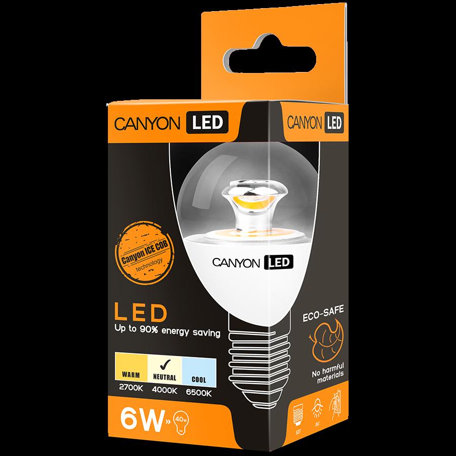LED Lighting CANYON PE14CL6W230VN CANYON PE14CL6W230VN LED lamp, P45 shape, clear, E14, 6W, 220-240V, 150°, 494 lm, 4000K, Ra>80, 50000 h